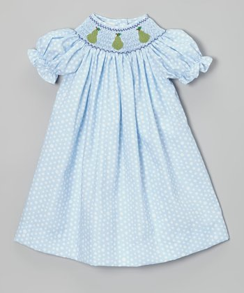 Light Blue Polka Dot Pear Bishop Dress - Infant, Toddler & Girls