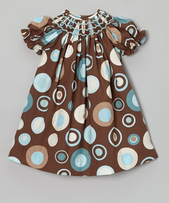 Brown & Teal Circle Bishop Dress - Infant, Toddler & Girls