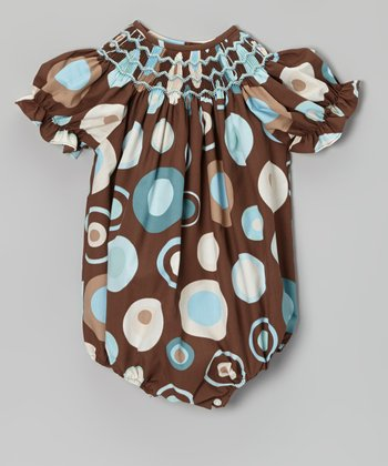 Brown & Teal Circle Smocked Bubble Bodysuit - Infant