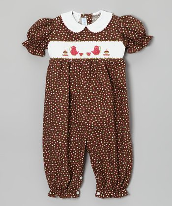 Brown Tea Party Smocked Bubble Playsuit - Infant