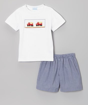White Fire Truck Smocked Tee & Navy Shorts - Infant & Toddler
