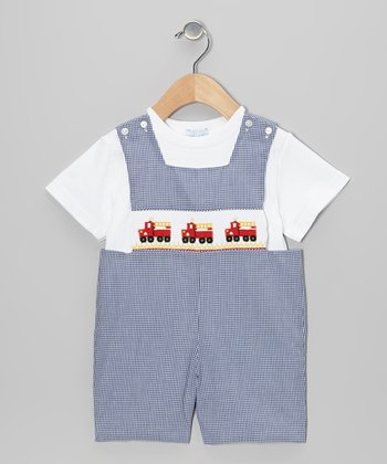 White Tee & Navy Gingham Fire Truck John Johns - Infant & Toddler