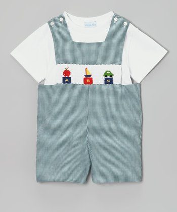 White Tee & Green Gingham ABC John Johns - Infant & Toddler