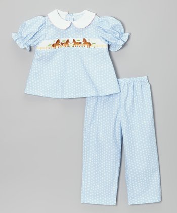 Light Blue Horse Bishop Top & Pants - Infant, Toddler & Girls