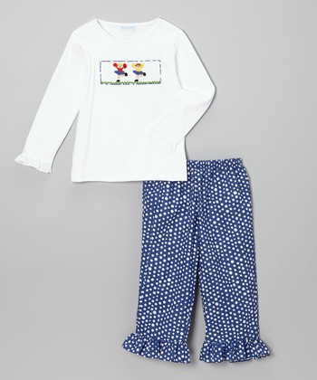 White Cheer Smocked Tee & Blue Pants - Infant