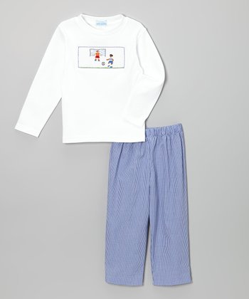 White Soccer Smocked Tee & Blue Gingham Pants - Infant & Toddler