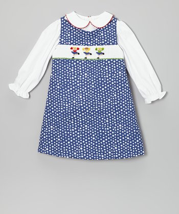 White Blouse & Blue Cheer Jumper - Infant & Toddler