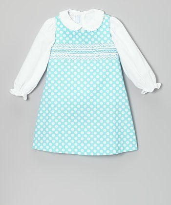 White Blouse & Turquoise Smocked Jumper - Infant & Toddler