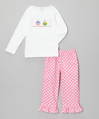 White Cupcake Tee & Pink Ruffle Pants - Infant
