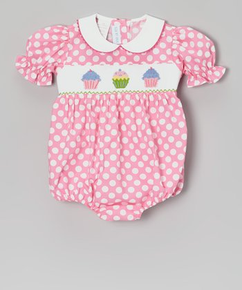 Pink Polka Dot Cupcake Smocked Bubble Bodysuit - Infant