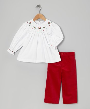 White Candy Cane Bishop Top & Red Corduroy Pants - Infant, Toddler & Girls