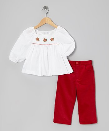 White Smocked Poinsettia Top & Corduroy Pants - Toddler & Girls