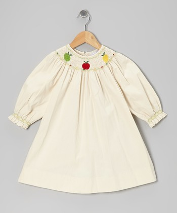Ivory Apple Corduroy Bishop Dress - Infant, Toddler & Girls