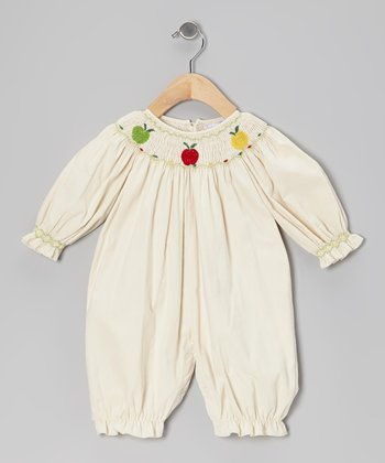 Ivory Apple Smocked Corduroy Playsuit - Infant