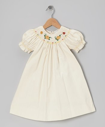 Ivory Smocked Pumpkin Corduroy Bishop Dress - Infant & Toddler