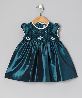 Green Daisy Smocked Puff-Sleeve Dress - Infant