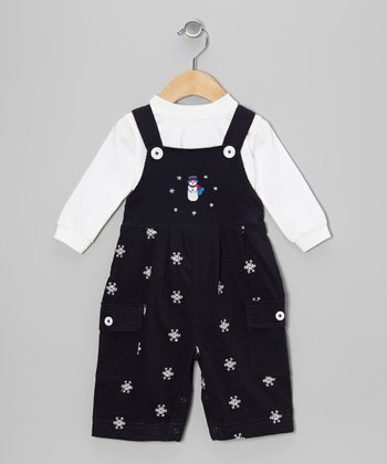 White Top & Navy Blue Snowman Overalls - Infant