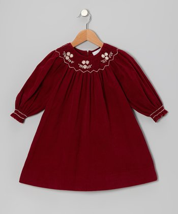 Red Burgundy Corduroy Bishop Dress - Infant, Toddler & Girls