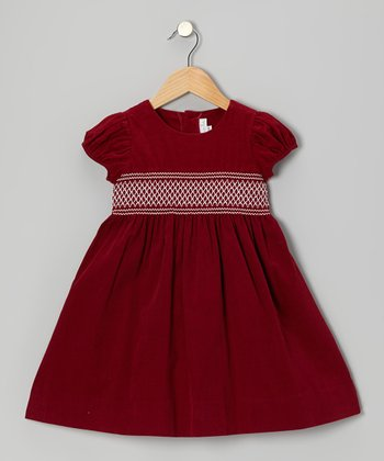 Fuchsia Smocked Corduroy Dress - Infant & Toddler