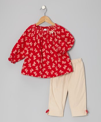 Red Bow Tie Corduroy Swing Top & Pants - Infant & Toddler