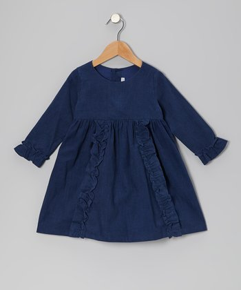 Navy Blue Ruffle Corduroy Dress - Infant & Toddler