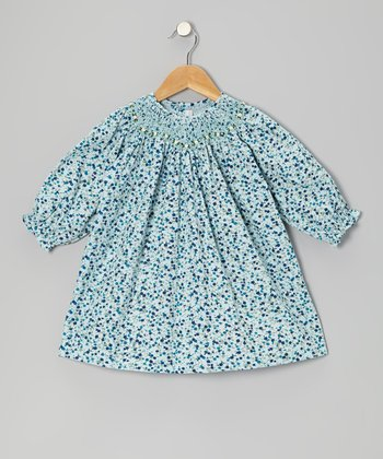 Light Blue Floral Corduroy Bishop Dress - Infant & Toddler