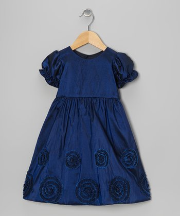 Navy Blue Flower Dress - Toddler & Girls
