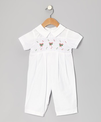 White Candy Cane Playsuit - Infant