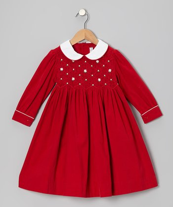 Red Flower Smocked Corduroy Dress - Infant, Toddler & Girls