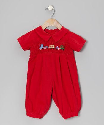 Red Train Corduroy Playsuit  - Infant