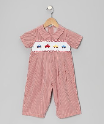 Red Stripe Car Playsuit - Infant