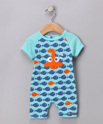 Aqua 'Go Fish' Romper - Infant