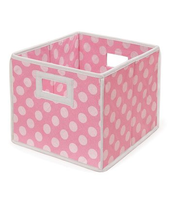 Pink Polka Dot Folding Storage Cube