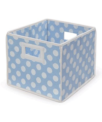 Blue Polka Dot Folding Storage Cube