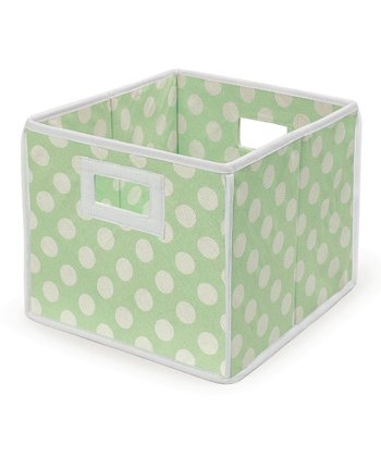 Sage Polka Dot Folding Storage Cube