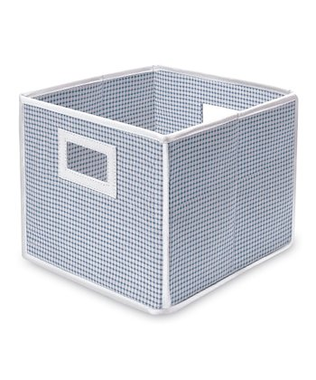 Blue Gingham Folding Storage Cube