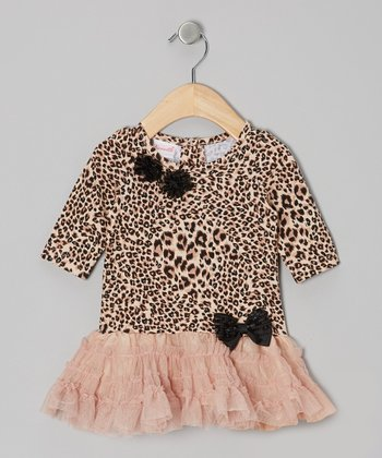 Beige & Khaki Jungle Cat Tutu Dress - Toddler & Girls