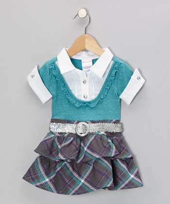 Green Layered Dress - Infant, Toddler & Girls