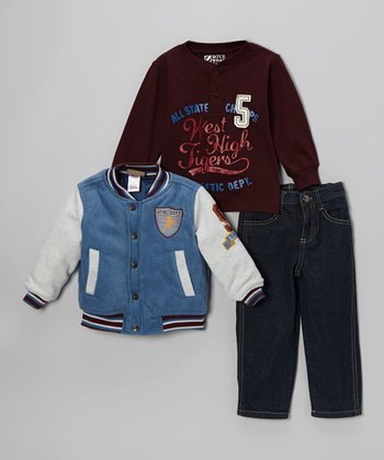 Blue Varsity Jacket Set - Boys