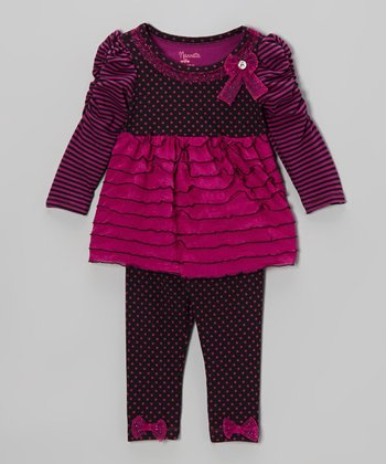 Purple Polka Dot Ruffle-Tier Tunic & Leggings - Infant