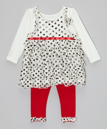 White Polka Dot Layered Tunic & Red Leggings - Infant