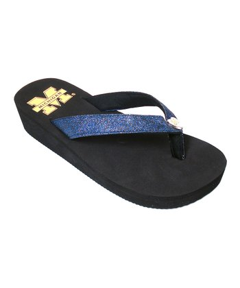 Black Michigan Glitter Flip-Flop
