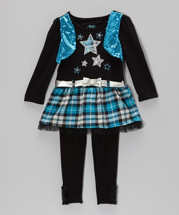 Black & Blue Star Skirted Top & Leggings - Infant & Toddler