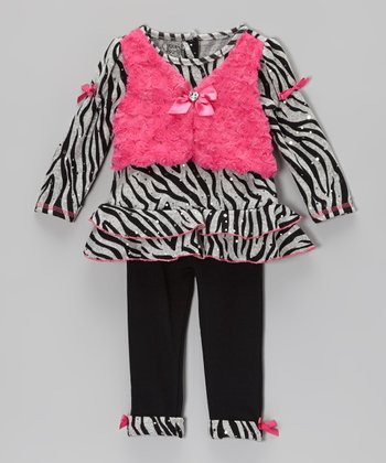 Black & Pink Zebra Layered Top & Leggings - Infant & Toddler