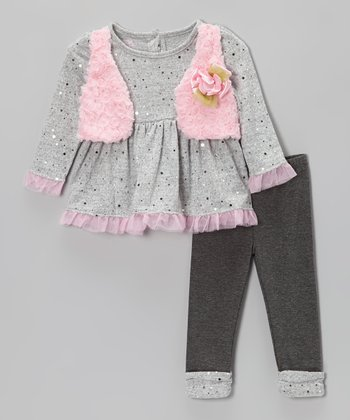 Gray & Pink Sequin Layered Top & Leggings - Infant & Toddler