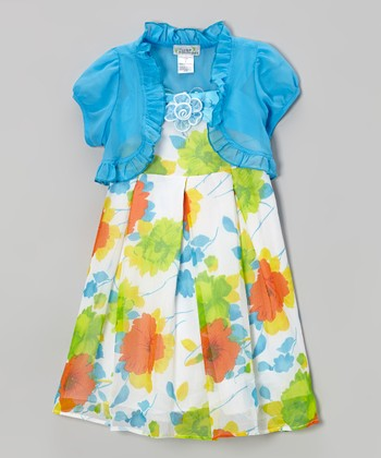 Turquoise & Orange Floral Dress & Blue Shrug - Toddler & Girls