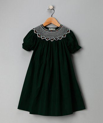 Dark Green Roselle Bishop Dress - Toddler & Girls