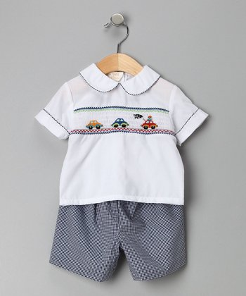 Gray Car Top & Gingham Shorts  - Toddler