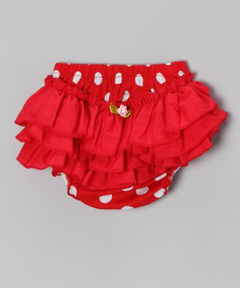 Red & White Polka Dot Ruffle Diaper Cover - Infant & Toddler