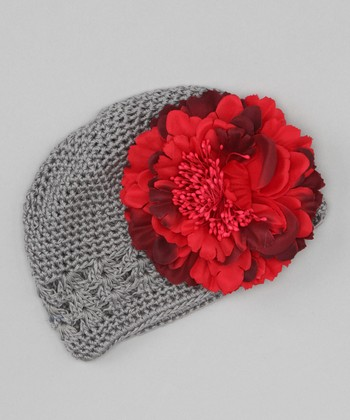 Gray & Red Peony Crocheted Beanie